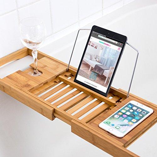 Plateau pont en bambou de luxe pour baignoirePlateau de salle de bain avec support pour verre de vin.