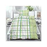 2–4pezzi estate Set di biancheria da letto in microfibra con chiusura lampo 135X 200/80x 80cm Verde Bianco Blu con motivo scozzese, Microfibra, multicolore, 2-teiliges Set