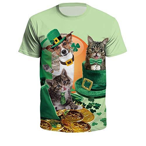 ManY lustige T-Shirts Kleintier Welpe Hund Kätzchen Katze Modelle Mode Niedlich Haustier Vierblättriges Kleeblatt Digitaldruck Rundhals Pullover T-Shirt Vierblättriges Kleeblatt Katzen- und Hundemünze -