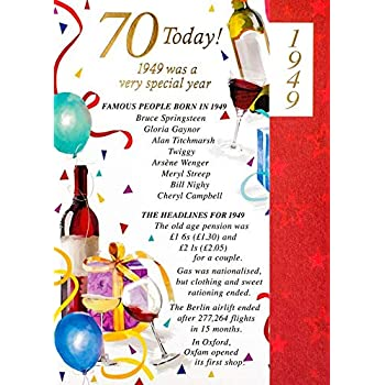 Simon Elvin 2019 70th Male Birthday Card