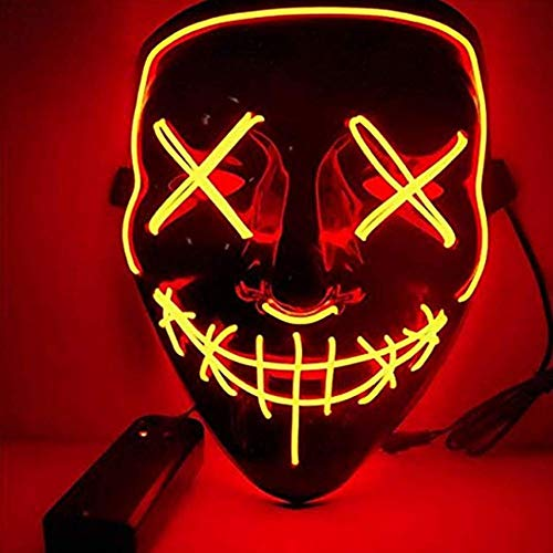 BangShou Halloween LED Máscaras Purga de Máscaras de Halloween Craneo Esqueleto Mascaras para la Navidad Halloween Cosplay Grimace Festival Party Show (Rojo)