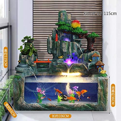 CTO Große Steingarten Brunnen Dekoration Aquarium Dekoration Großen Fischteich Feng Shui Runde Glückliche Wohnzimmer Desktop Wohnaccessoires,L,Dekoration
