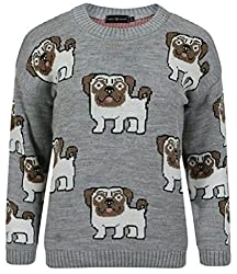 Ladies Womens Novelty Pug Dog Print Long Sleeve Knitted Jumper Sweater Top UK 8-14