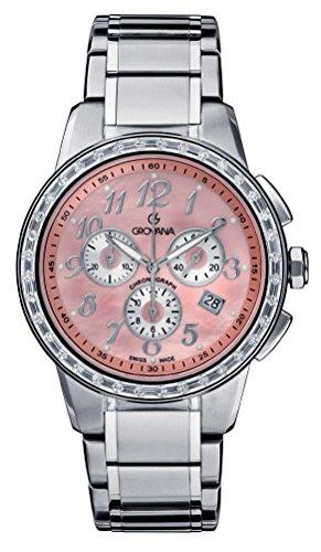 GROVANA 2094,9738 Swiss-Orologio Unisex bambino Display con cronografo e cinturino in acciaio INOX color argento