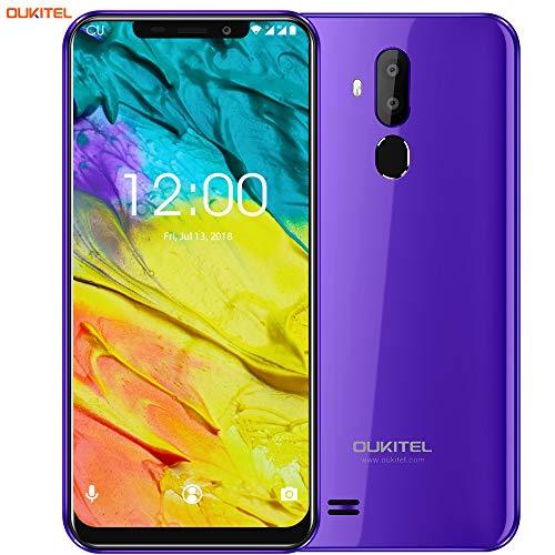 "OUKITEL C12 Smartphone Libre, 6.18\"" HD 19:9 IPS Pantalla, Quad-Core 2GB RAM+ 16GB ROM, 3G Android 8.1 Dual SIM Teléfono móvil,Cámara 8MP+5MP,3300mAh,Face ID (Morado)"