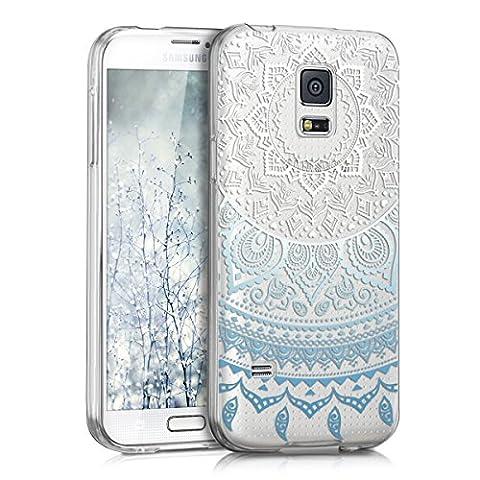 kwmobile Hülle für Samsung Galaxy S5 Mini G800 - TPU Silikon Backcover Case Handy Schutzhülle - Cover klar Indische Sonne Design Blau Weiß
