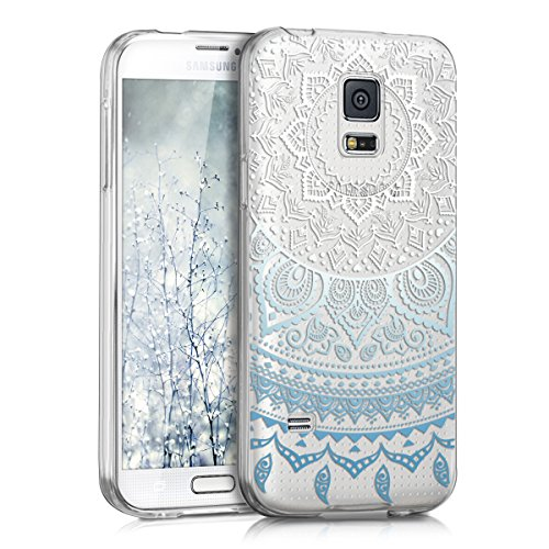 kwmobile Samsung Galaxy S5 Mini G800 Hülle - Handyhülle für Samsung Galaxy S5 Mini G800 - Handy Case in Blau Weiß Transparent