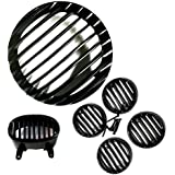 Auto Hub Plastic Headlight Grill Indicator Cap Set For Bajaj Avenger - Black (Set of 6)