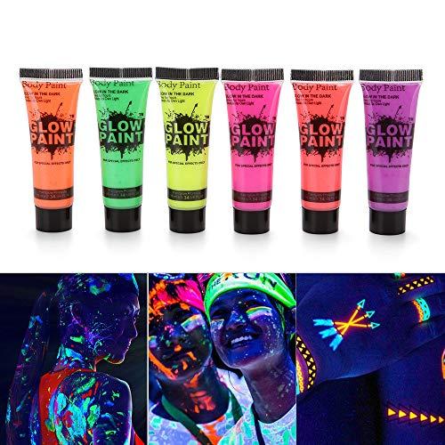 Aibecy Farbstoff in Dark oder UV-Licht mit Fluoreszierende Farbe Pigment für Party Clubbing Festival Halloween Makeup (Cool Make-up Dark Halloween)