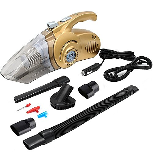 Hcmax 4 in 1 aspirapolvere per auto portatilehandheld multiuso dust buster wet / dry 12v 100w con manometro luce a led compressore d'aria per auto gonfiatore della gomma