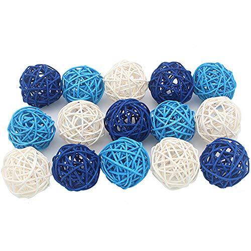 15Stück gemischte Tief Blau Hellblau Weiß Deko Rattan Ball Boy Baby Dusche Kinder Geburtstag Party Royal Hochzeit Jahrestag Aufsteller Festival Event Dekoration