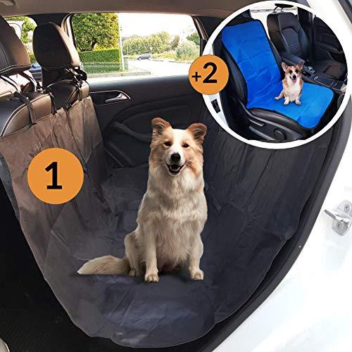 coprisedile auto per cani kit completo, telo auto per cani davanti e dietro, copri sedile auto, amaca per cani, protezione sedili macchina cane, copertura cuccia universale (blu)