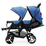 Yhz@ Doppelter Säuglingslaufkatze, Doppelkinderwagen-leichte faltende doppelte Zweisitzer-Kinderwagen-Geländeversion, explosionssichere Räder Buggys (Farbe : Blau)