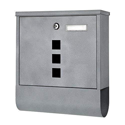 Melko Design Briefkasten mit Zeitungsfach aus verzinktem Stahl, 30 x 33,5 x 10 cm, Hellgrau