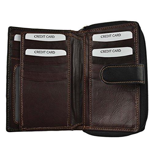 Ladies Medio PELLE LISCIA con zip borsa/portafoglio da Golunski; Zen Collezione Black & Brown