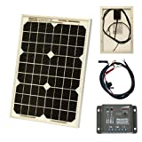 10W 12V Photonic Universe solar power kit with 5A charge controller and battery cables for a motorhome, caravan, camper, boat or any 12V system (10 watt)