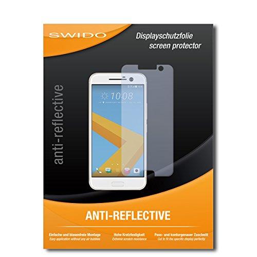 SWIDO Schutzfolie für HTC 10 [2 Stück] Anti-Reflex MATT Entspiegelnd, Hoher Härtegrad, Schutz vor Kratzer/Bildschirmschutz, Bildschirmschutzfolie, Panzerglas-Folie