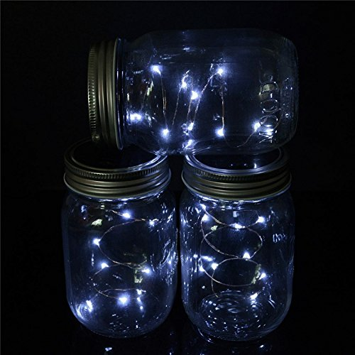 Solar Powered 2M 20LEDs Mason jar Deckel Fairy String Licht Draht Lampe für gartendekor - Warmes Weiß - Cd-player Draht