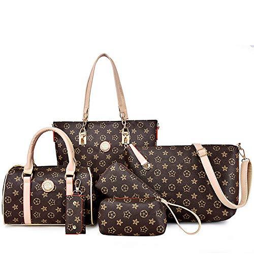 Ldyia Weibliche gedämpfte Brötchen, sechsteilige, Bedruckte, diagonale Clutch-Tasche mit Einer Schulter, Umhängetasche, Kaffee