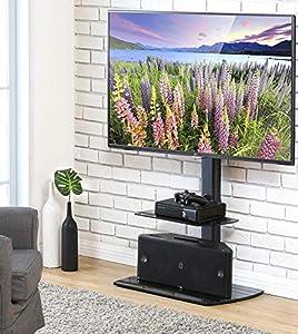 mueble televisor: FITUEYES Giratorio Soporte de Suelo con Estante para TV LCD LED 32-50 Pulgadas T...