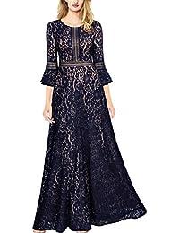 MIUSOL Damen Trompete Ärmel Spitzen Hochzeit Kleid Cocktail Maxi Abendkleid Navy Blau/Rot S-XXL