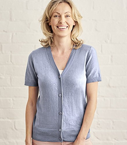 Woolovers Womens Silk and Cotton Short Sleeved Knitted Cardigan