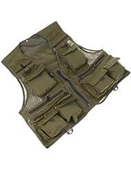 Gazechimp Gilet de Pêche Veste Multi-poches Rangement pour Pêcheur Sport Activité En Plein Air