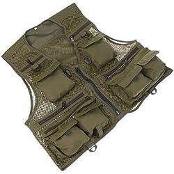 Gazechimp Al Aire Libre Multi-bolsillo de Pesca de Caza de Malla Chaleco Fotografía Chaqueta Verde de Ejército Deportes Comodo