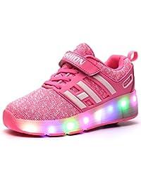 Meurry Unisex Schuhe mit Rollen Kinder Skateboard Schuhe Rollschuh Schuhe LED Light Wheels Sneakers Outdoor-Trainer für Junge Mädchen (29 EU, Ein Rad/Blau)
