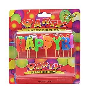 """Gifts 4 All Occasions Limited SHATCHI-1081 RGRP - Velas de cumpleaños para niños, diseño con texto""""Happy Letter"""", multicolor"""