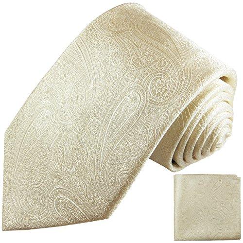 Champagner Krawatten Set 2tlg paisley Hochzeit Seidenkrawatte + Einstecktuch Paul Malone