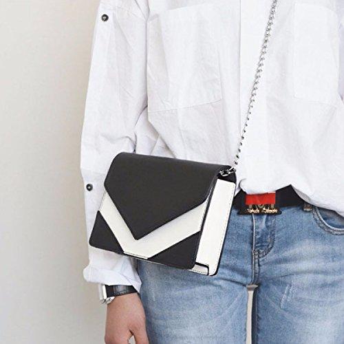 BUKUANG Frühling Und Sommer Handtasche Kleines Quadratisches Paket Schlägt Farbe Minimalistische Mode-Kette Schultertasche Messenger Bag,Green Black