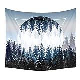 Dremisland Sonnenuntergang Wald Ozean Berge Wandbehang Tapisserie Natur Hausdekorationen Wandteppich zum Wohnzimmer Schlafzimmer Dekor in 150 X 130cm (Sonnenwald)
