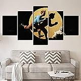 Haute définition Impressions Abstrait Dessin animé Toile La Peinture 5 pièces Tintin Personnages Modulaire Affiche Image Moderne Accueil Décor Chambre des Enfants Art Mural,A,30X50X2+30X70X2+30X80X1...