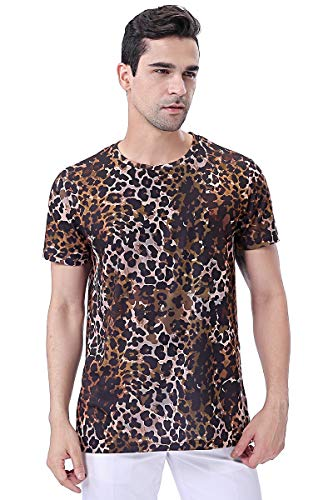 COSAVOROCK Camiseta de Estampado Hombre Leopardo Camuflaje de Manga Corta (XL, Marrón)