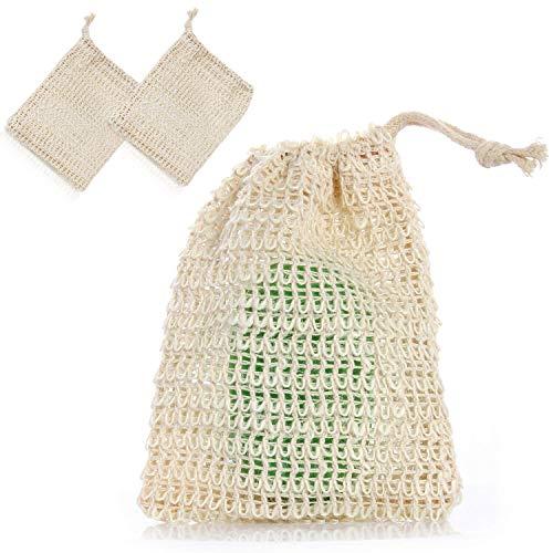 LetiStore 2x Seifensäckchen Seifennetz Sisal Seifenbeutel - Natur Peeling Massage Sisalsäckchen - Seifenschwamm Für Seifenreste -