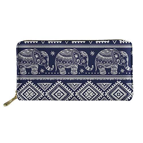 Lange Kupplung Brieftaschen pu Leder Reißverschluss Geldbörse indischen Elefanten ethnischen Handtasche (Color : Elephant 3, Size : -)