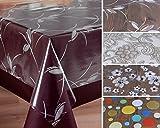 Beautex Transparente Folie bedruckt MOTIV und Größe wählbar, Tischdecke Tischschutz Rund Oval Eckig (Ranke weiß Eckig 140x180 cm)