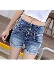 Vientre en dril de algodón pantalones cortos de cintura alta costura delgado cruzado estiramiento ligera de verano de mujer ,27,Azul