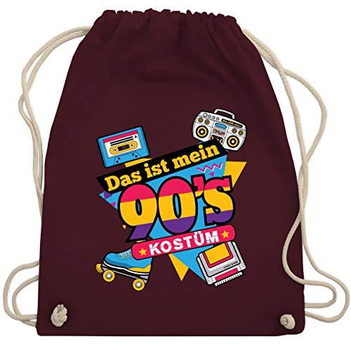 Kassetten Kostüm Erwachsene Für - Karneval & Fasching - Das ist mein 90er Jahre Kostüm - Unisize - Bordeauxrot - WM110 - Turnbeutel & Gym Bag