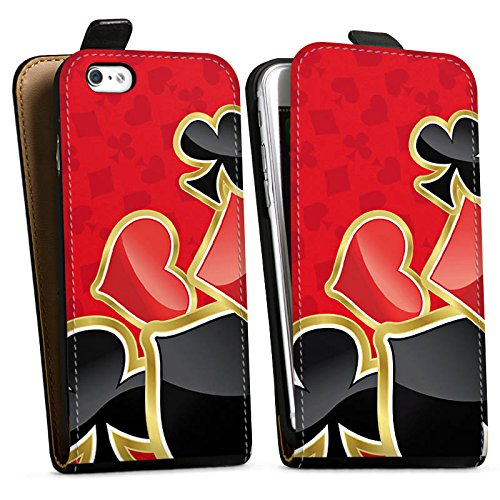 Apple iPhone 5c Silikon Hülle Case Schutzhülle Poker Kartenspiel Rot Downflip Tasche schwarz