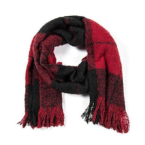 ManuMar Schal mit Fransen | Winterschal XXL Größe | Schultertuch | Unisex Schal Übergröße kariert rot