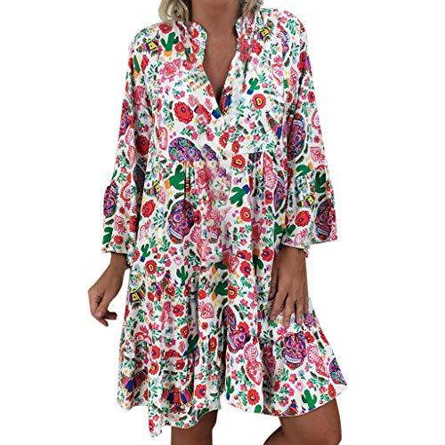 Wawer Sommer V Ausschnitt Sieben-Viertel-Ärmel Damen Lose Blumig Print DREI Viertel Ärmel Minikleid Sommerkleid -