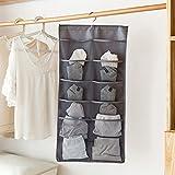 Hanging Wardrobe Garment Storage Bag Bra Underwear Scoks Double-Sided Storage Bag Organizer Simple See-Through Grids Holder by Leoie