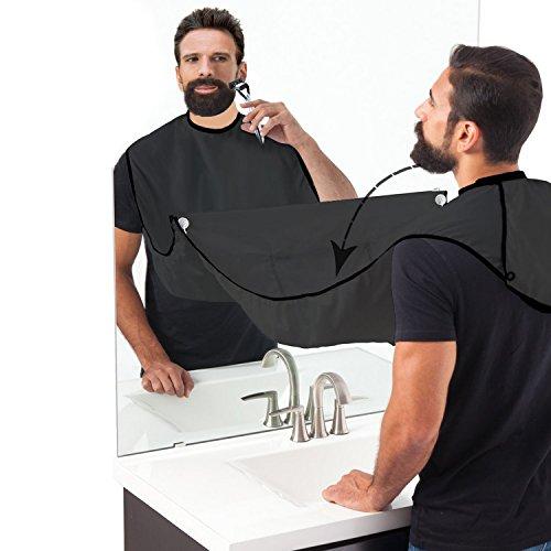 Bart Schürze für Bartgestaltung- Sammel Tuch für Haare-Bart Lätzchen für Geschenk der Männer Bartlatz für Rasur,Schwarz