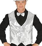 Silber/weiß Pailletten Weste für Herren Karneval Fasching Silvester Party Gr. M/L
