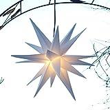 Mit LED Außenstern 18 Zack Stern weiß - hochwertige Verarbeitung - Faltstern - sekundenschneller Aufbau, Leuchtmittel LED (StaRt-NDL-DUH-E14-C3,5W)
