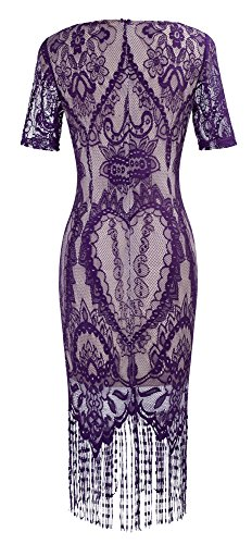 HOMEYEE Femmes Elégant en dentelle à manches V-cou Mesh Slim Bodycon Tassel Formal Vintage Robe B337 Violet
