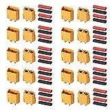 AUTOUTLET 20 PCS 10 paires XT60 Bullet Connecteurs Prises mâles et femelles avec rétrécissement de la chaleur pour voiture RC / bateau / batterie LiPo