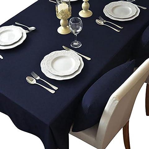 NiSeng Tovaglia da tavola in poliestere, Tovaglie Antimacchia Tovagliato ristorazione Tovaglia a quadri rettangolare tinta unita Marina 140x250 cm